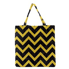 Chevron9 Black Marble & Yellow Colored Pencil (r) Grocery Tote Bag