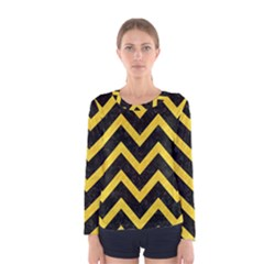 Chevron9 Black Marble & Yellow Colored Pencil (r) Women s Long Sleeve Tee