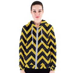 Chevron9 Black Marble & Yellow Colored Pencil (r) Women s Zipper Hoodie