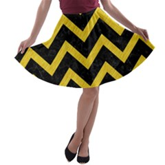 Chevron9 Black Marble & Yellow Colored Pencil (r) A Line Skater Skirt