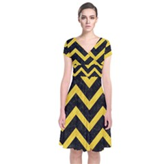 Chevron9 Black Marble & Yellow Colored Pencil (r) Short Sleeve Front Wrap Dress