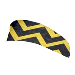 Chevron9 Black Marble & Yellow Colored Pencil (r) Stretchable Headband