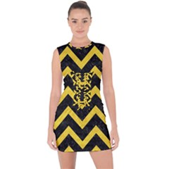 Chevron9 Black Marble & Yellow Colored Pencil (r) Lace Up Front Bodycon Dress