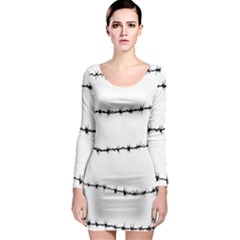 Barbed Wire Black Long Sleeve Bodycon Dress