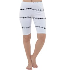 Barbed Wire Black Cropped Leggings