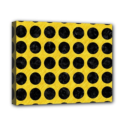 Circles1 Black Marble & Yellow Colored Pencil Canvas 10  X 8