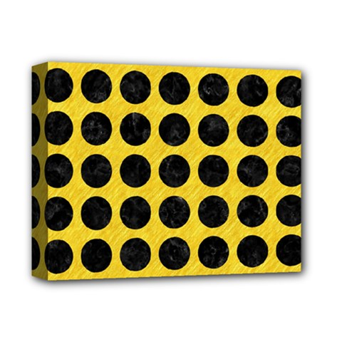 Circles1 Black Marble & Yellow Colored Pencil Deluxe Canvas 14  X 11