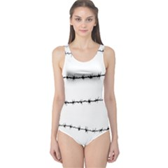Barbed Wire Black One Piece Swimsuit