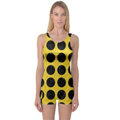Circles1 Black Marble & Yellow Colored Pencil One Piece Boyleg Swimsuit