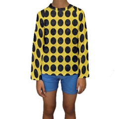 Circles1 Black Marble & Yellow Colored Pencil Kids  Long Sleeve Swimwear