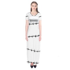 Barbed Wire Black Short Sleeve Maxi Dress