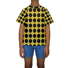 Circles1 Black Marble & Yellow Colored Pencil Kids  Short Sleeve Swimwear