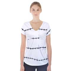 Barbed Wire Black Short Sleeve Front Detail Top