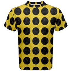 Circles1 Black Marble & Yellow Colored Pencil Men s Cotton Tee