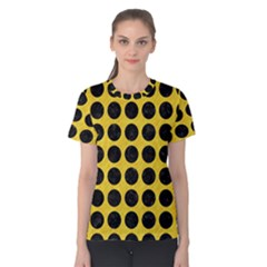 Circles1 Black Marble & Yellow Colored Pencil Women s Cotton Tee