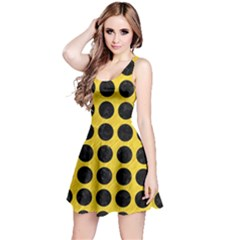 Circles1 Black Marble & Yellow Colored Pencil Reversible Sleeveless Dress