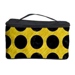 Circles1 Black Marble & Yellow Colored Pencil Cosmetic Storage Case