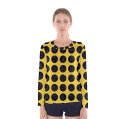 Circles1 Black Marble & Yellow Colored Pencil Women s Long Sleeve Tee