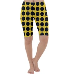 Circles1 Black Marble & Yellow Colored Pencil Cropped Leggings