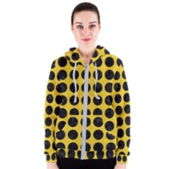 Circles1 Black Marble & Yellow Colored Pencil Women s Zipper Hoodie
