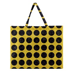 Circles1 Black Marble & Yellow Colored Pencil Zipper Large Tote Bag