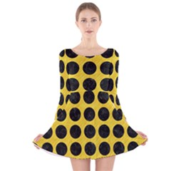 Circles1 Black Marble & Yellow Colored Pencil Long Sleeve Velvet Skater Dress