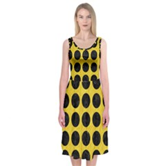Circles1 Black Marble & Yellow Colored Pencil Midi Sleeveless Dress