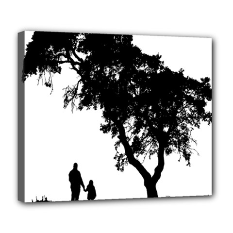 Black Father Daughter Natural Hill Deluxe Canvas 24  X 20