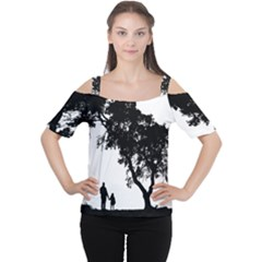 Black Father Daughter Natural Hill Cutout Shoulder Tee