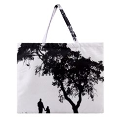 Black Father Daughter Natural Hill Zipper Large Tote Bag