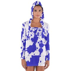 Blue Plaint Splatter Long Sleeve Hooded T Shirt