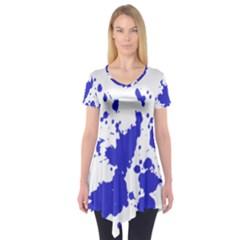 Blue Plaint Splatter Short Sleeve Tunic