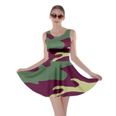 Camuflage Flag Green Purple Grey Skater Dress
