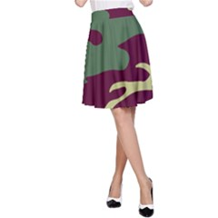 Camuflage Flag Green Purple Grey A Line Skirt