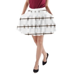 Barbed Wire Brown A Line Pocket Skirt