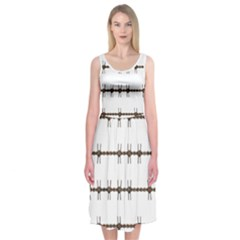 Barbed Wire Brown Midi Sleeveless Dress
