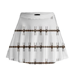 Barbed Wire Brown Mini Flare Skirt