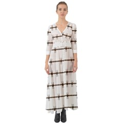 Barbed Wire Brown Button Up Boho Maxi Dress
