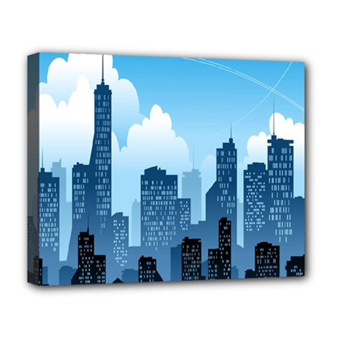 City Building Blue Sky Deluxe Canvas 20  X 16
