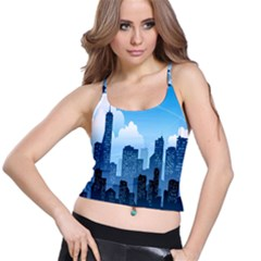 City Building Blue Sky Spaghetti Strap Bra Top