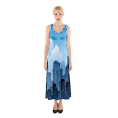 City Building Blue Sky Sleeveless Maxi Dress