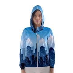 City Building Blue Sky Hooded Wind Breaker (women)