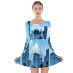 City Building Blue Sky Long Sleeve Skater Dress