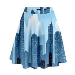 City Building Blue Sky High Waist Skirt