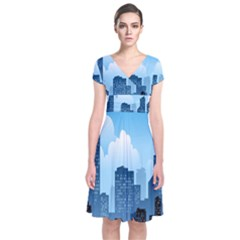 City Building Blue Sky Short Sleeve Front Wrap Dress