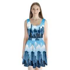 City Building Blue Sky Split Back Mini Dress