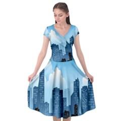 City Building Blue Sky Cap Sleeve Wrap Front Dress