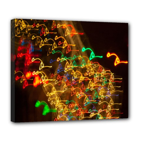 Christmas Tree Light Color Night Deluxe Canvas 24  X 20