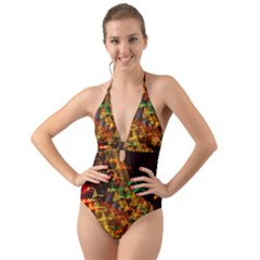 Christmas Tree Light Color Night Halter Cut Out One Piece Swimsuit