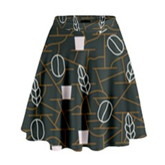 Espresso Cofee Glass Line Chevron High Waist Skirt